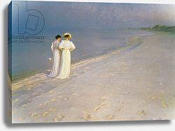 Постер Кройер Севрин Summer Evening on the Skagen Southern Beach with Anna Ancher and Marie Kroyer, 1893