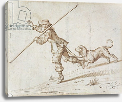 Постер Барлоу Франсис Man hunting with a pointed staff and a hound