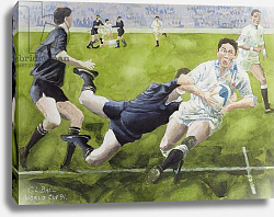 Постер Болл Гарет (совр) Rugby Match: England v New Zealand in the World Cup, 1991, Rory Underwood being tackled