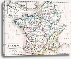 Постер Школа: Английская 19в. Map of France, Gallia Antique, from 'The Atlas of Ancient Geography', c.1829