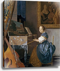 Постер Вермеер Ян (Jan Vermeer) A Young Lady Seated at a Virginal, c.1670
