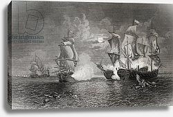 Постер Школа: Английская 19в. Action between Bonhomme Richard and the Serapis, 23rd September 1779