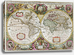 Постер Хондиус Энрике A New Land and Water Map of the Entire Earth, 1630