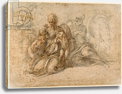 Постер Микеланджело (Michelangelo Buonarroti) The Holy Family; Amorous Putti c. 1530