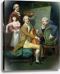 Постер Зоффани Йоханн Self Portrait With his Daughter, Maria Theresa and Possibly Giacobbe and James Cervetto c.1779