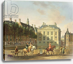 Постер Беркхейде Геррит The Mauritshuis from the Langevijverburg, the Hague, with hawking party in the foreground