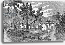 Постер Неизвестен Cotton factory village, Glastenbury, from 'Connecticut Historical Collections', 1856