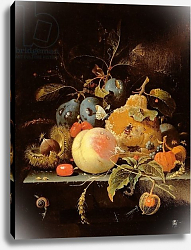 Постер Миньон Абрагам Still Life of Fruit and Nuts on a Stone Ledge