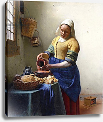 Постер Вермеер Ян (Jan Vermeer) The Milkmaid, c.1658-60
