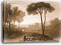 Постер Тернер Вильям (последователи) F.38.I Scene in the Campagna, from the 'Liber Studiorum', engraved by William Say, 1812