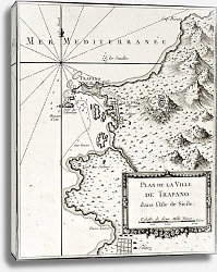 Постер Trapani and surrounding territories. The original map was created by Bellin and was published around