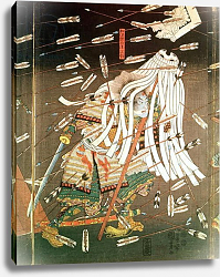 Постер Киниоши Утагава The Last Stand of the Kusanoki Clan, the Battle of Shijo Nawate, 1348, c..1851