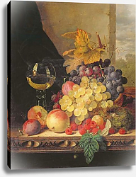 Постер Ладель Эдвард A Still Life with Grapes, Raspberries and a Glass of Wine