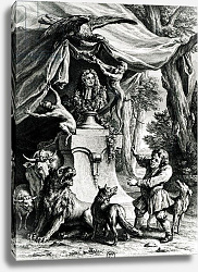 Постер Одри Жан-Батист Allegorical portrait of Jean de La Fontaine surrounded by animals from his fables