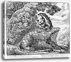 Постер Барлоу Франсис The Lion and the Mouse, illustration to 'Aesop's Fables', 1687
