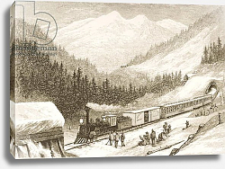 Постер Школа: Английская 19в. Carrying United States Mail Across the Sierra Nevada in 1870, from 'American Pictures', 1876