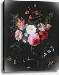 Постер Кессель Ян Spring Flowers in a glass vase, 17th century