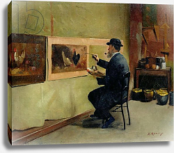 Постер Рену Жюль Charles Philippe Gevens, father-in-law of the artist, painting in his studio 21, avenue d'Eylau