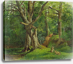 Постер Херкомер Хьюберт Woodland Scene with Rabbits, 1862