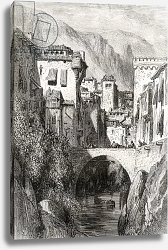 Постер Доре Гюстав The Banks of the Darro, Granada, illustration from 'Spanish Pictures' by the Rev. Samuel Manning