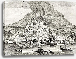 Постер Catania, Sicily, and Etna volcano erupting. May be dated to the 18th c.