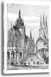 Постер Erfurt Cathedral in Thuringia, Germany, vintage engraving
