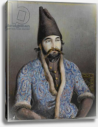 Постер Школа: Персидская 19в. Portrait of a nobleman or royal figure, possibly Muhammad Shah Qajar