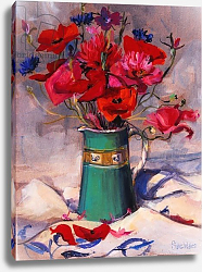 Постер Уэльс Сью (совр) Poppies & cornflowers in green jug, 1994,