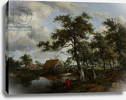 Постер Хоббема Мейндрат (Meindert Hobbema) Wooded Landscape with Watermill, c.1665