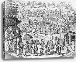 Постер Школа: Китайская 18в. Procession of a bride going home to her husband, engraved by N. Parr
