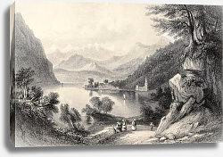 Постер Lake Lugano,  between Italy and Switzerland. Original, created by Major Irton and T. A. Prior, publi