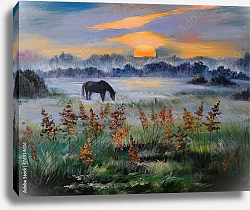 Постер Лошадь в туманном поле