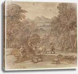 Постер Лоррен Клод (Claude Lorrain) Landscape with Mercury and Apollo as a Shepherd, 1673