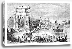 Постер Ancona and the Arches of Trajan, Italy. Scene from 1890, old vintage illustration.
