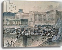 Постер Хауель Жан The Arrival of Louis XVI in Front of the Louvre, 17th July 1789