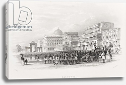 Постер Аллом Томас (грав) Calcutta, the Esplanade, engraved by E. Radclyffe, c.1880