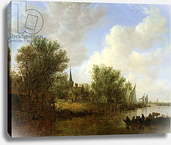 Постер Гойен Ян River scene with a View of Overschie, 1651