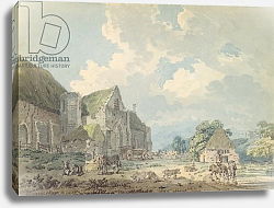 Постер Гиртин Томас The Tithe Barn at Abbotsbury with the Abbey on the hill..., c.1795