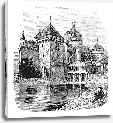 Постер Chillon Castle or Chateau de Chillon in Veytaux, Switzerland, during the 1890s, vintage engraving