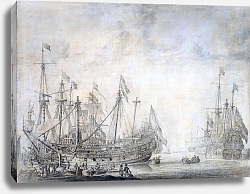 Постер Велде Виллем Старший Ships after the battle