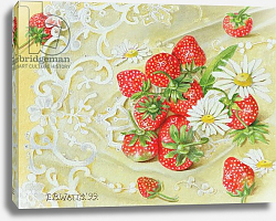 Постер Уоттс Э. (совр) Strawberries on Lace, 1999