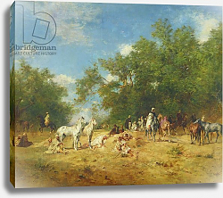 Постер Фроментин Евген Arab Horsemen Resting in the Forest, 1868