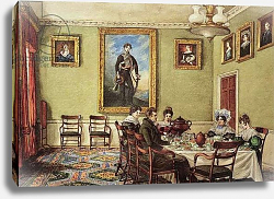 Постер Бест Мари Dining room at Langton Hall, family at breakfast, c.1832-3