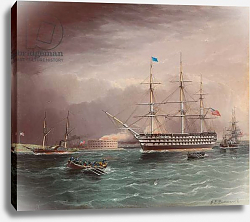 Постер Баттерсворт Джеймс The U.S.S. Pennsylvania Under Tow at the Outbreak of the American Civil War with Fort Monroe in the Background