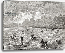 Постер Риоу Эдуард Hawaiians surfing, illustration from 'The World in the Hands', engraved by Charles Barbant, 1878