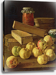 Постер Мелендес Луис Still life with apples, pots of jam and boxes of cake