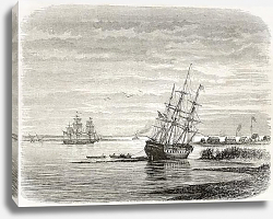 Постер Mississipi mouth, old illustration. Created by De Berard after Reclus, published on le Tour du Monde