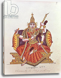 Постер Школа: Индийская Saratheswathee, hindu goddess of learning, with Singhalese and English inscription