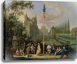 Постер Джисельс Питер Elegant figures playing musical instruments around a maypole