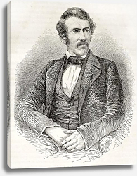 Постер David Livingston old engraved portrait. Created by Fath, Pannemaker and Ligny, published on Le Tour